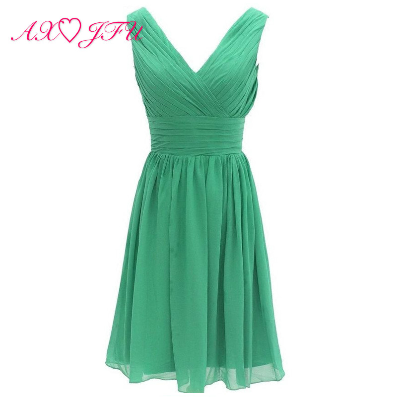 AXJFU green Chiffon A Line girls pink short Party princess little white Dress any color v neck sleeveless Bridesmaid Dresses