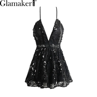 Glamaker Sexy V Neck Lace Jumpsuit Romper Women Sequin Strap Backless High Waist Overalls Summer Party