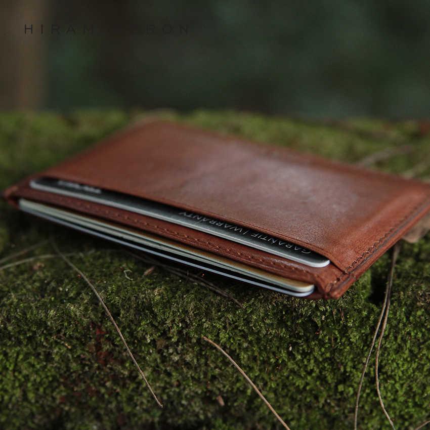 Hiram Beron мужской кожаный держатель для карт RFID Блокировка мини кошелек растительный загорелый кожаный ID держатель из натуральной кожи Оригинальный кошелек