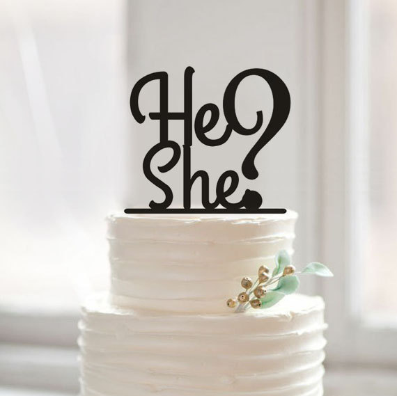 gender reveal cake toppers aliexpress buy gender reveal cake topper he or she 4469