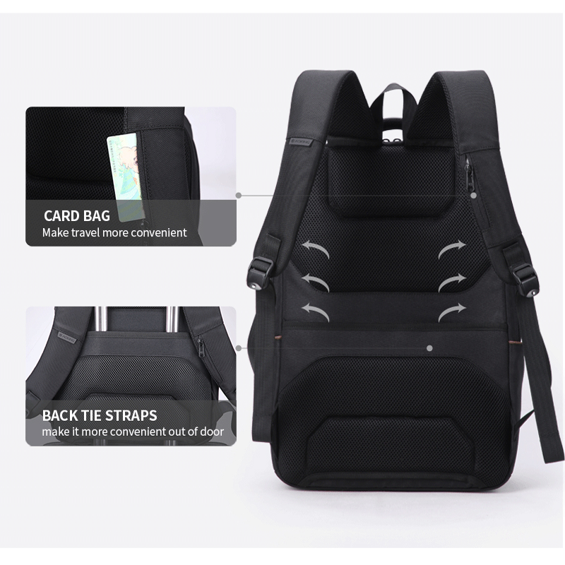 """Aokong Brand Black Backpack Waterproof Men's Travel Bags with USB Port Fashion Business backpack Fits 15.6"""" Laptop for Teenager-in Backpacks from Luggage & Bags    3"""