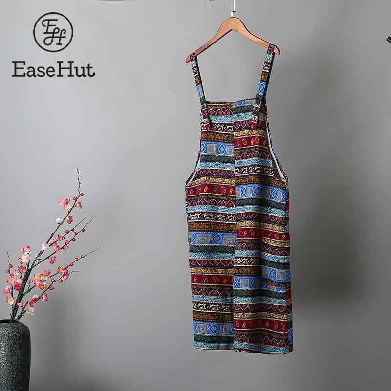 EaseHut женский комбинезон с этническим принтом, богемные винтажные широкие брюки-комбинезоны с лямками, комбинезон, повседневный Свободный комбинезон