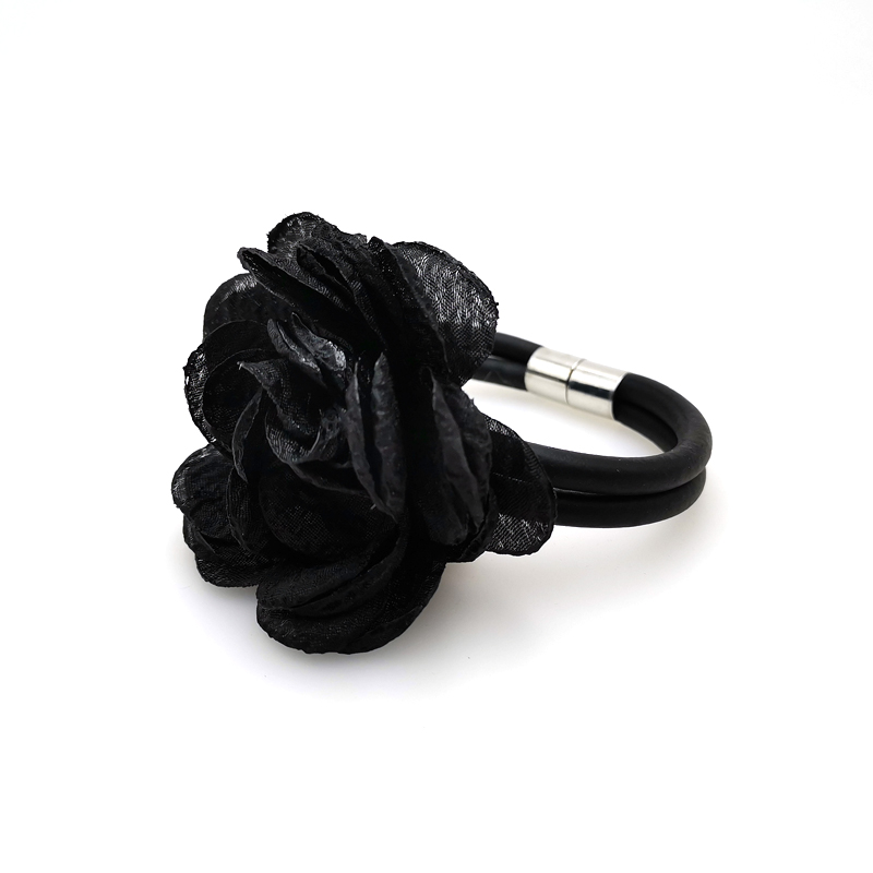 Купить с кэшбэком YD&YDBZ Black Big Flower Accessory Bracelet For Women's Rubber Charm Bracelets Jewelry Vintage Style Couple Festival Party Gifts