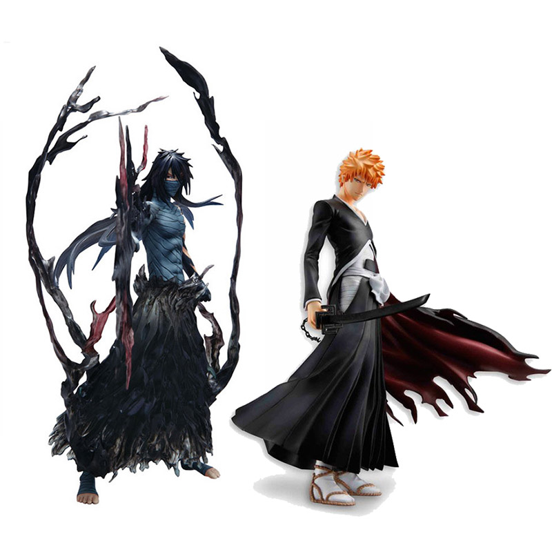Cool 19cm 22cm Bleach Anime Kurosaki Ichigo Getsuga Tenshou PVC Action Figure Collection Model Toy cool 20cm bleach anime kurosaki ichigo getsuga tenshou pvc action figure collection model toy