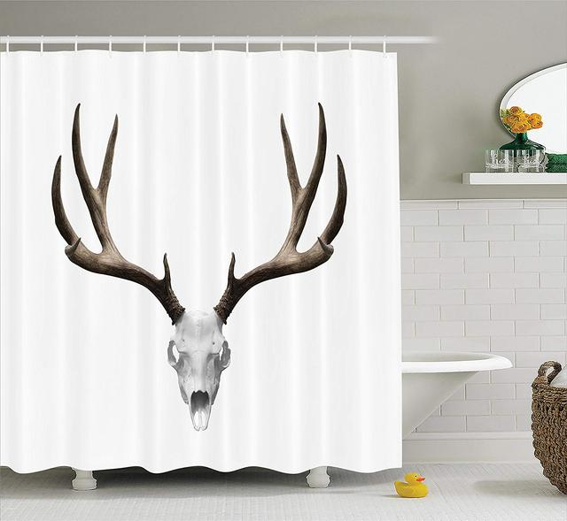 Antlers Decor Shower Curtain Deer Skull Skeleton Head Bone Halloween Weathered Hunter Collection Bathroom Accessories