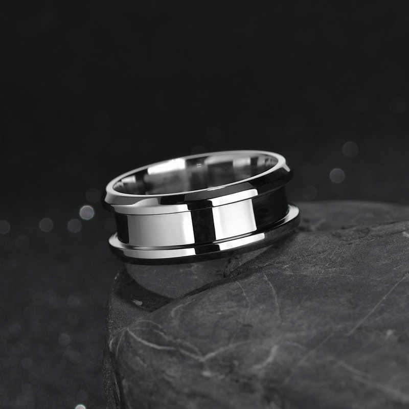 ELSEMODE titanio acero negro azul oro ranura anillo para hombres mujeres boda bandas anillos de moda joyería