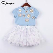 301cbd71c De niña de verano conjunto de ropa de manga corta Camisa de flores flor y  mariposa Tutu falda de algodón trajes de niños conjunt.