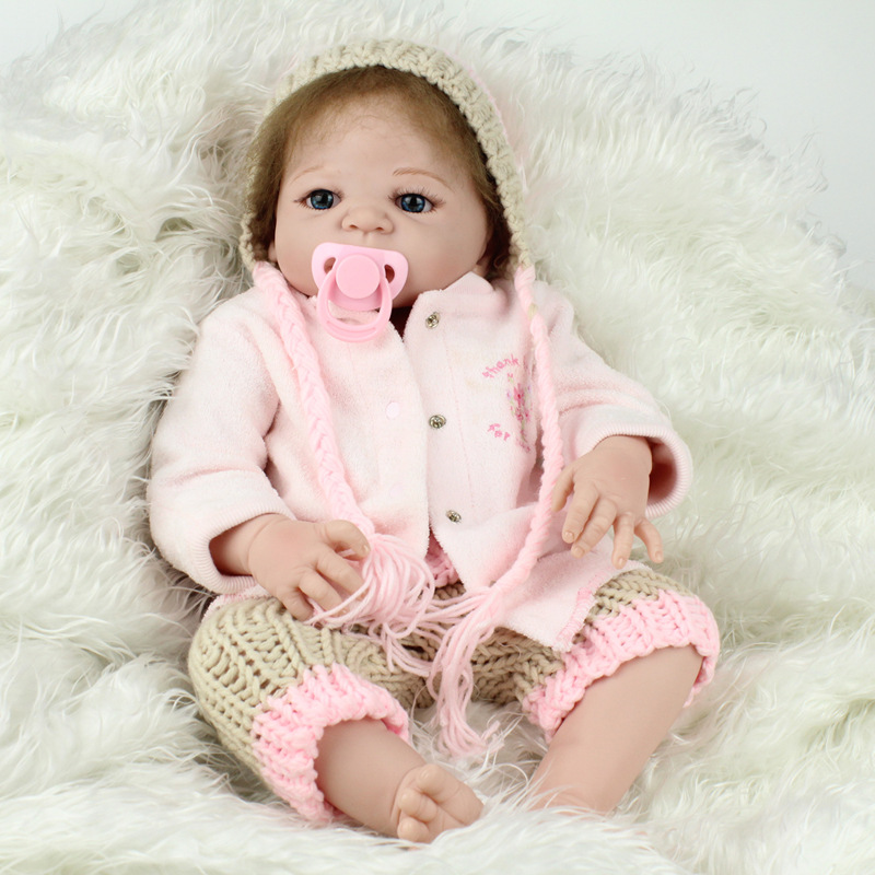 Soft Silicone Vinyl Dolls 22inch 55cm Doll Reborn Baby Brown Wig Girl Handmade Cotton Body Lifelike juguetes Babies Toys gift