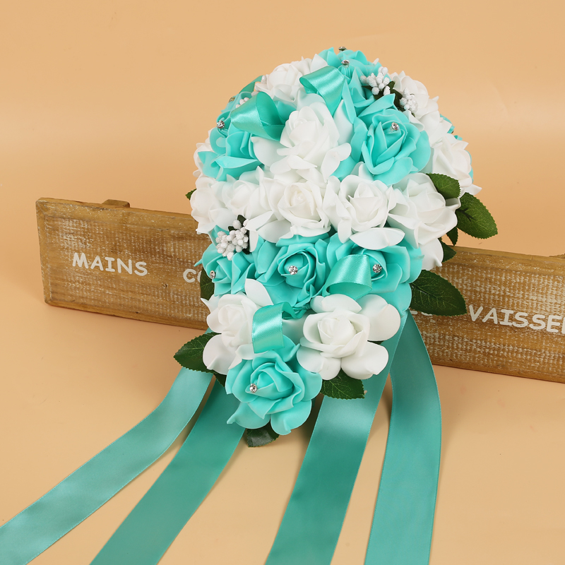 Bridal-Bouquets Wedding-Flowers Artificial Rose Handmade With Ribbon For 2-Colors New
