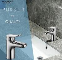 TOOKOC Basin Single Hand Faucets Single Handle Cold and Hot Mixer Tap bathroom fixture brass Basin faucet Lavatory Faucet