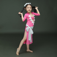 Selling Egyptian Belly Dance Sexy Costume For Children Red Sky Blue Rose Good Quality Girls Professional Dancing Dresses