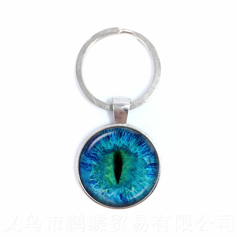 LLavero de ojo malvado de color de moda hermoso Animal dragón gatos ojo corazón 25mm vidrio cabujón regalo para hombres y mujeres