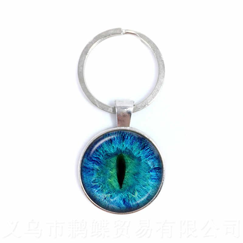Moda Coloridos Evil Eye Chaveiro Bonito Animal Dragão Olho de Gatos 25mm Cabochão de Vidro Coração Chaveiro Presente Para Mulheres Dos Homens