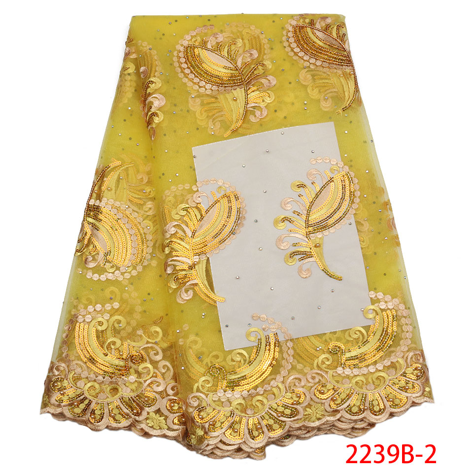 Yellow African Lace Fabric 2018 High Quality Lace Embroidery French Mesh with Stones Nigerian Lace Fabrics Material GD2139B 2-in Lace from Home & Garden    1