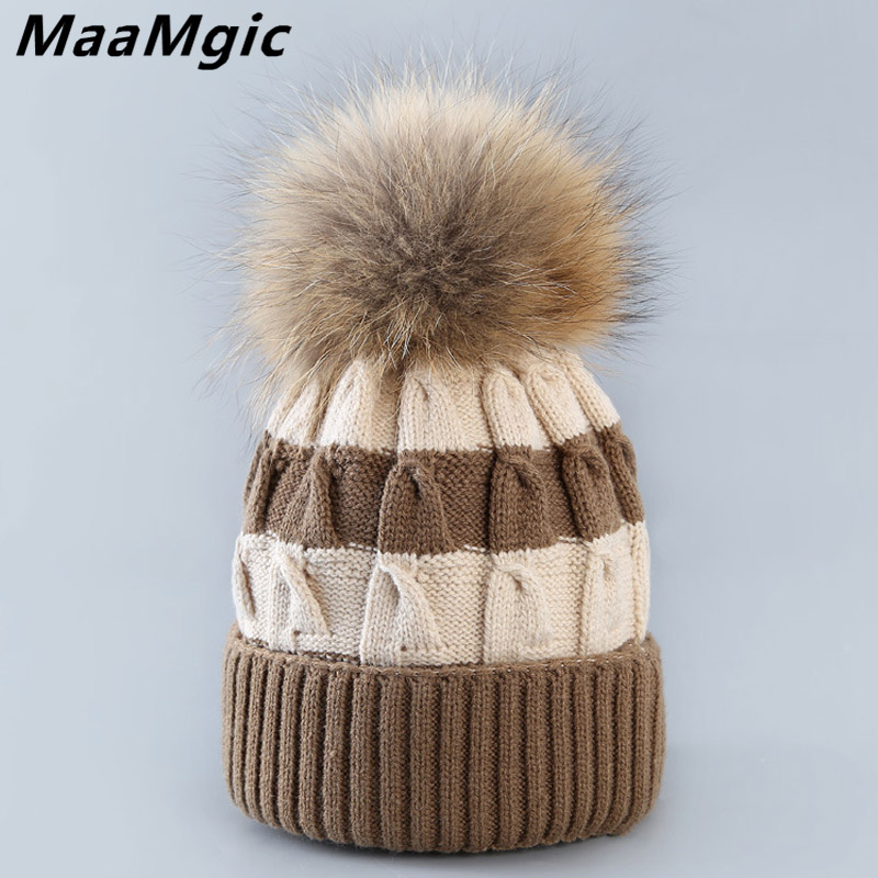 2017 new style Real Fur Winter Hat Raccoon Pom Pom Hat For Women Brand Thick Women Hat Girls Caps Knitted Beanies Cap Wholesale new star spring cotton baby hat for 6 months 2 years with fluffy raccoon fox fur pom poms touca kids caps for boys and girls