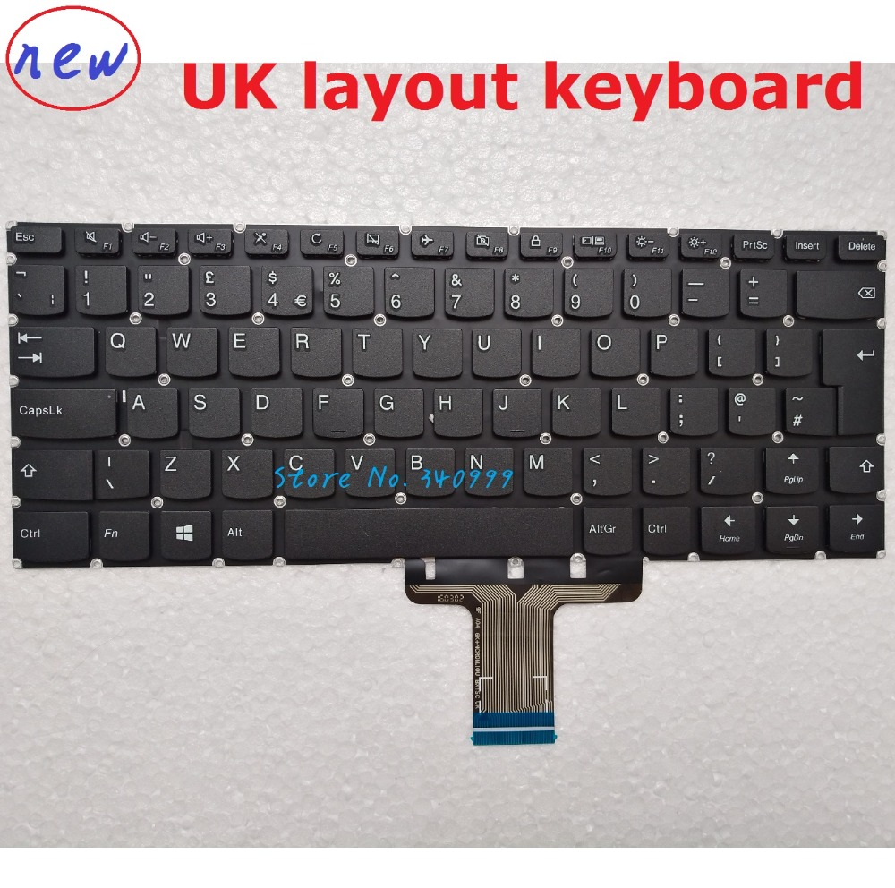 laptop keyboard For Lenovo 510S-14ISK Yoga <font><b>510</b></font>-14AST 710-14ISK 710-<font><b>15ISK</b></font> UK KEYBOARD image