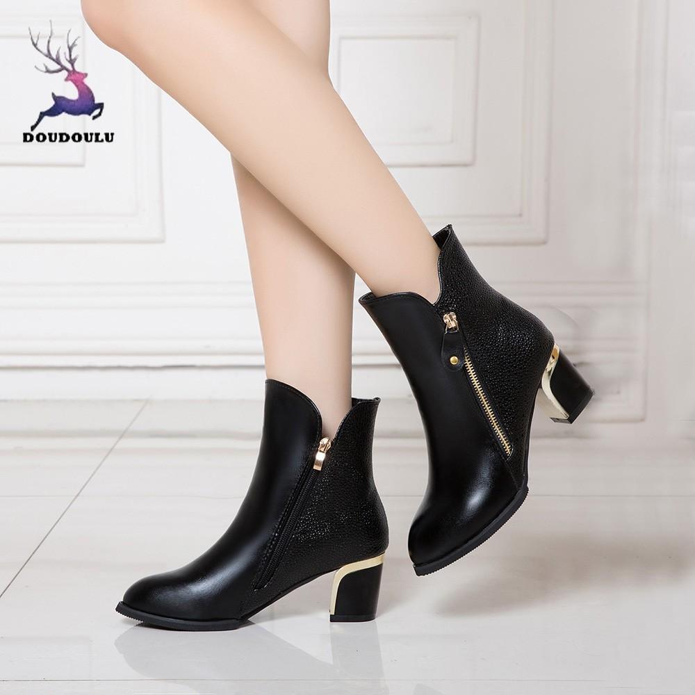 Nachdenklich Mode Bare Womans Stiefel Zipper Starke Ferse Pumpen England Martin Stiefel Spitze Schuhe Frau Zapatos De Mujer Plus Größe 35 ~ 42 100% Hochwertige Materialien Herrenschuhe