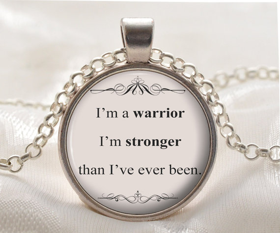 Quote Necklace Glass pendant Necklace Iam warrior, I am stronger, than Ive ever been Inspirational Pendant YLQ0447