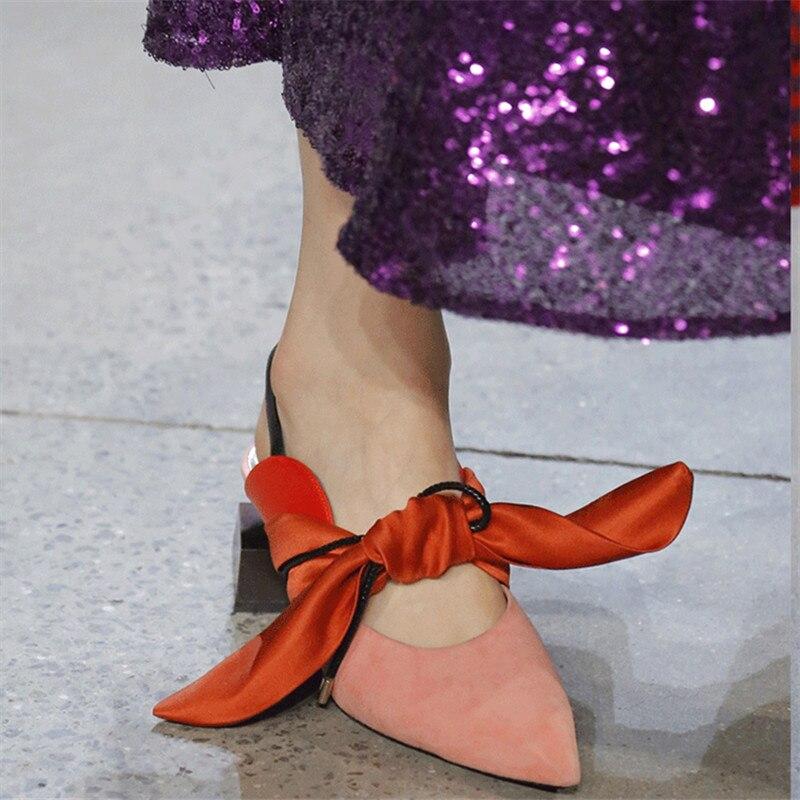 Designer Zapatillas Up Donne Lace Sandali Cuoio As Mujer Delle Di suede Signore Pic knot Glod Da Strano Del Butterfly Scarpe Pic Sexy Donna Pista as Pic Tallone zvz0Hw