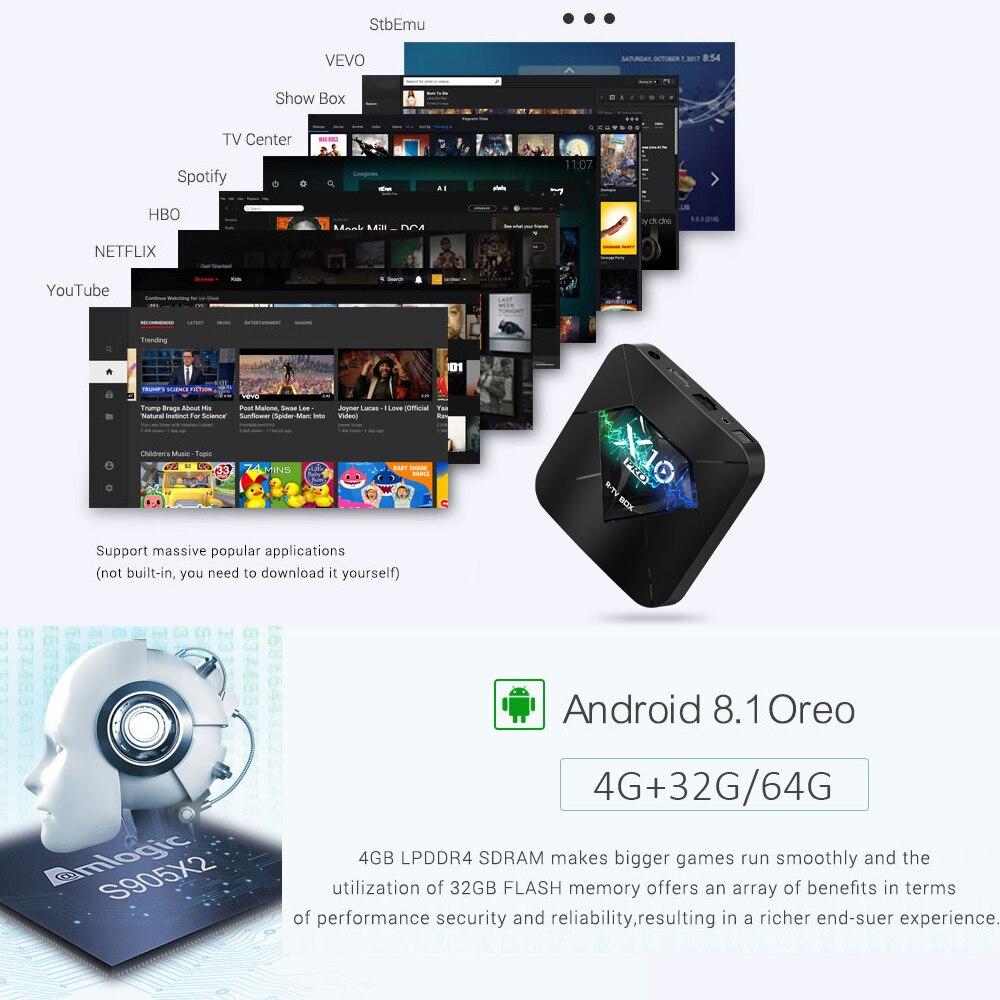 X10 Pro Android 9.0 Smart TV BOX S905X2 4GB DDR4 32GB 64GB 2.4G 5GHz Wifi Support USB3.0 BT4.0 4K 3D Netflix Android TV Player - 3