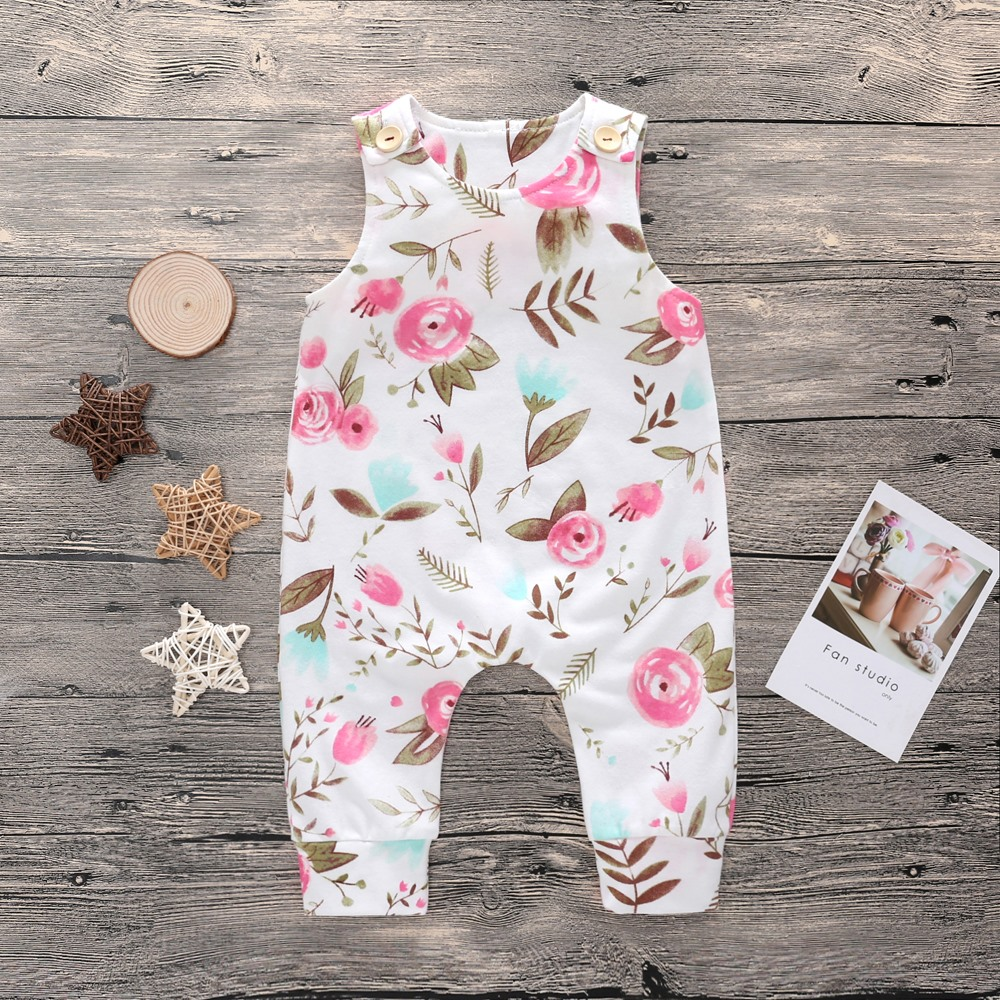 Newborn Baby Kids Boy Girl   Rompers   Toddler Floral Sleeveless Round Neck Cotton Jumpsuit Playsuit Boys Girls   Romper   Outfits