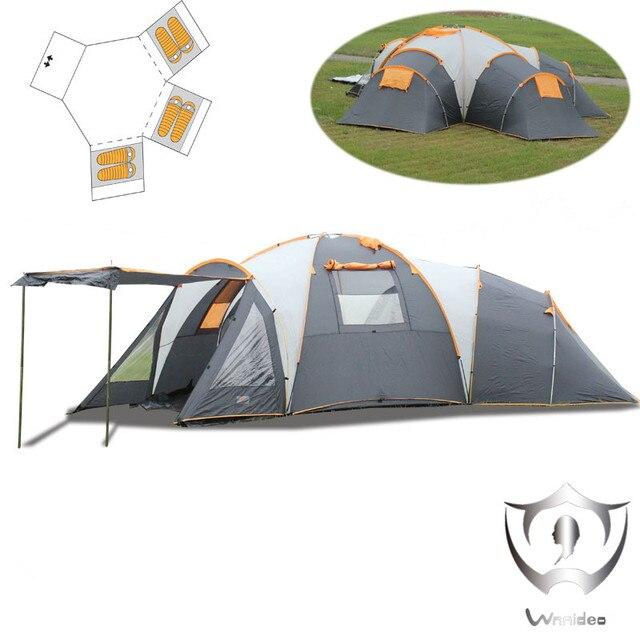 Wnnideo 10 person famiglia gruppo tenda da campeggio con 3 camera da letto cupola disegno - Letto da campeggio ...