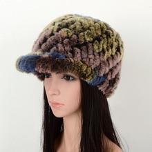 789895 Новая мода Европа и Америка теплые шапки из меха кролика рекс вязаная шапка женские зимние шапки меховые кепки женские козырьки