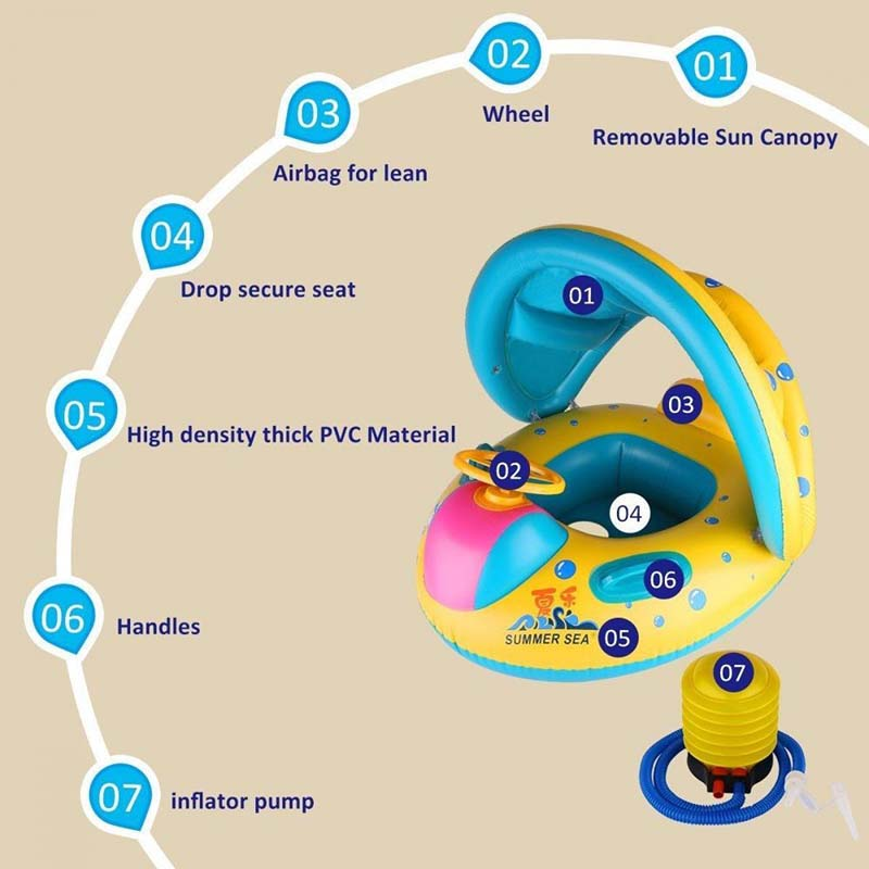 Kids Swimming Ring Inflatable With Sunshade Infant Pool Accessories Beach supply Floating Row Baby Inflatable Float Seat Boat