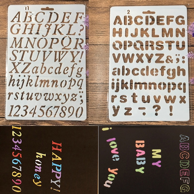 2Pcs/Lot 27cm Alphabet English Letters DIY Craft Layering Stencils Painting Scrapbooking Stamping Embossing Album Paper Template