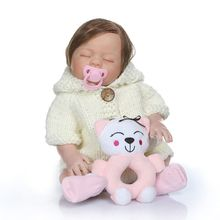 New Premium 48cm Realistic Reborn Doll Soft Full Silicone Vinyl Newborn Baby Girl Lifelike Handmade Toy For Children Xmas Gifts keiumi real 22 inch newborn baby doll cloth body realistic lovely baby doll toy for children s day kid christmas xmas gifts