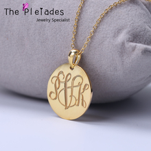 Monogram Necklace Disc Engraved Initial Pendant Custom Made Vine Monogram Letters Jewelry Personalized