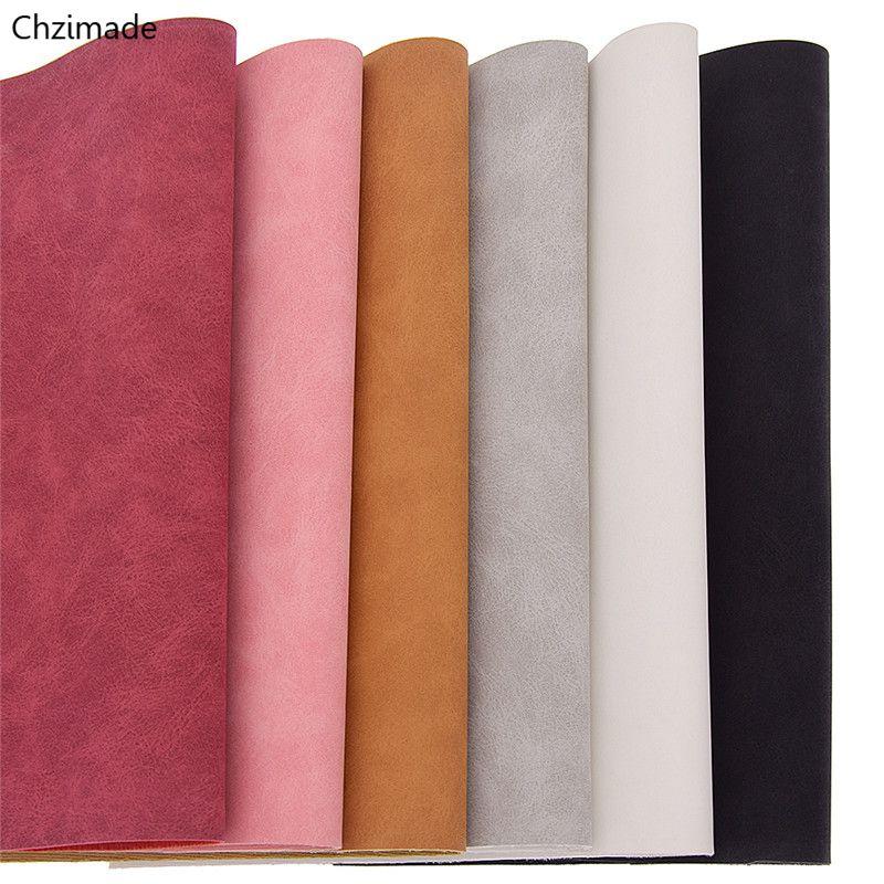 Chzimade 21x29cm a4 tecido do plutônio da camurça do falso para o vestuário multicolorido impermeável tecido de couro sintético diy material de costura