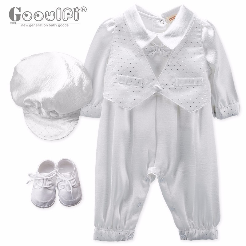 Gooulfi Christening Baptism Baby Boy Clothes Toddler Baptism Party 4 Pcs Clothing Sets For Infant Baby Boys Outfits High Quality hot pink tutu first birthday party outfits baby born clothing sets baby girl baptism clothes glitter bebes infant sets suits