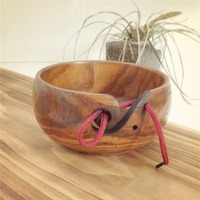 Practical Design Home Knitting Crocheting Accessories Portable Size Eco friendly Wooden Yarn Storage Bowl
