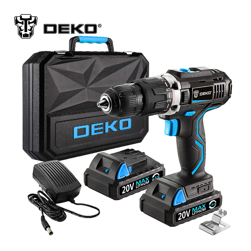 DEKO GCD20DU3 20 Volt Max DC Lithium Ion Battery 13mm 2 Speed Electric Cordless Drill Mini Screwdriver Impact Power Driver