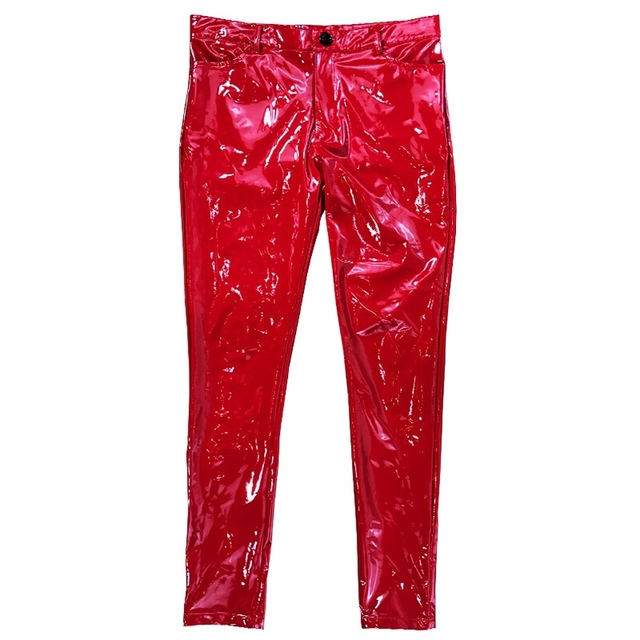 M-6XL! Plus-size leather trousers for men   Red super bright tight mirror leather pants elastic PU pants for male model ds show 6