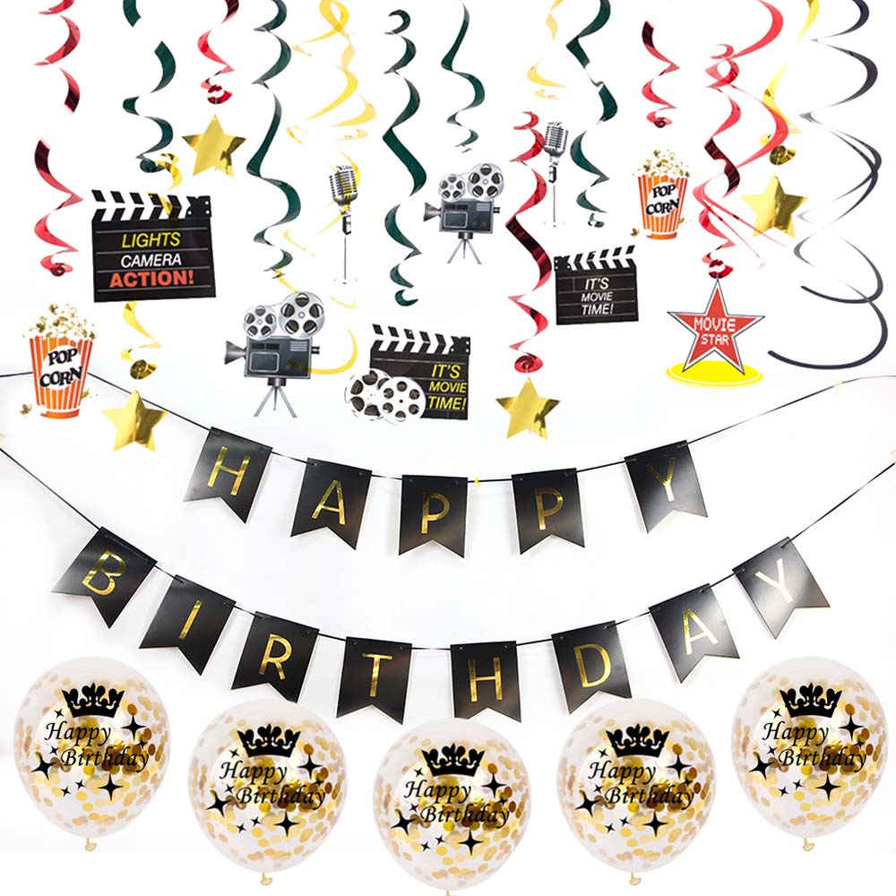 Hollywood Birthday Party Decoration Set Movie Night Hanging Swirls Happy Birthday Confetti Latex Balloons Premiere Night Awards