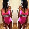 Badgirl 2016 Moda One Piece Swimsuit Carta Impressão Swimwaear Califórnia Mulheres Maiô Monokini Bodysuit Macacão