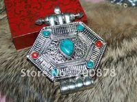 TGB106 Tibétain argent grande boîte de Prière, homme Ghau amulette pendentif, Népal main vintage bijoux, 78*76mm