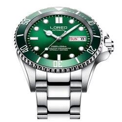 LOREO 200M wodoodporny zegarek mechaniczny mężczyźni 316L ze stali nierdzewnej podwójne kalendarz zielony zegarki świetliste do nurkowania automatyczny zegarek
