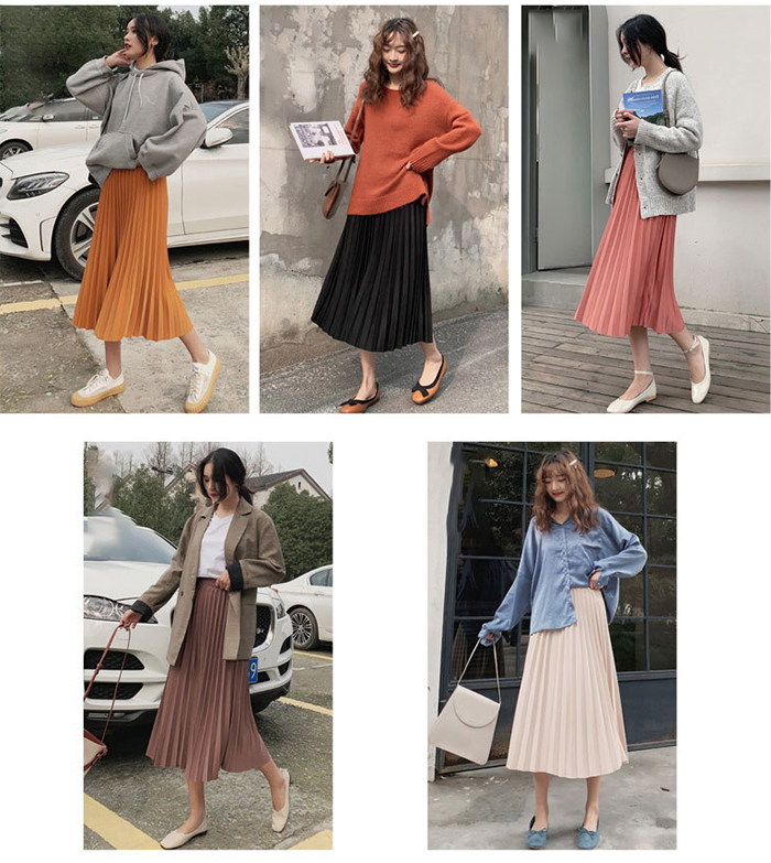 Surmiitro Elegant Solid Midi Pleated Skirt Women 19 Autumn Winter Ladies Korean High Waist A-line School Long Skirt Female 4