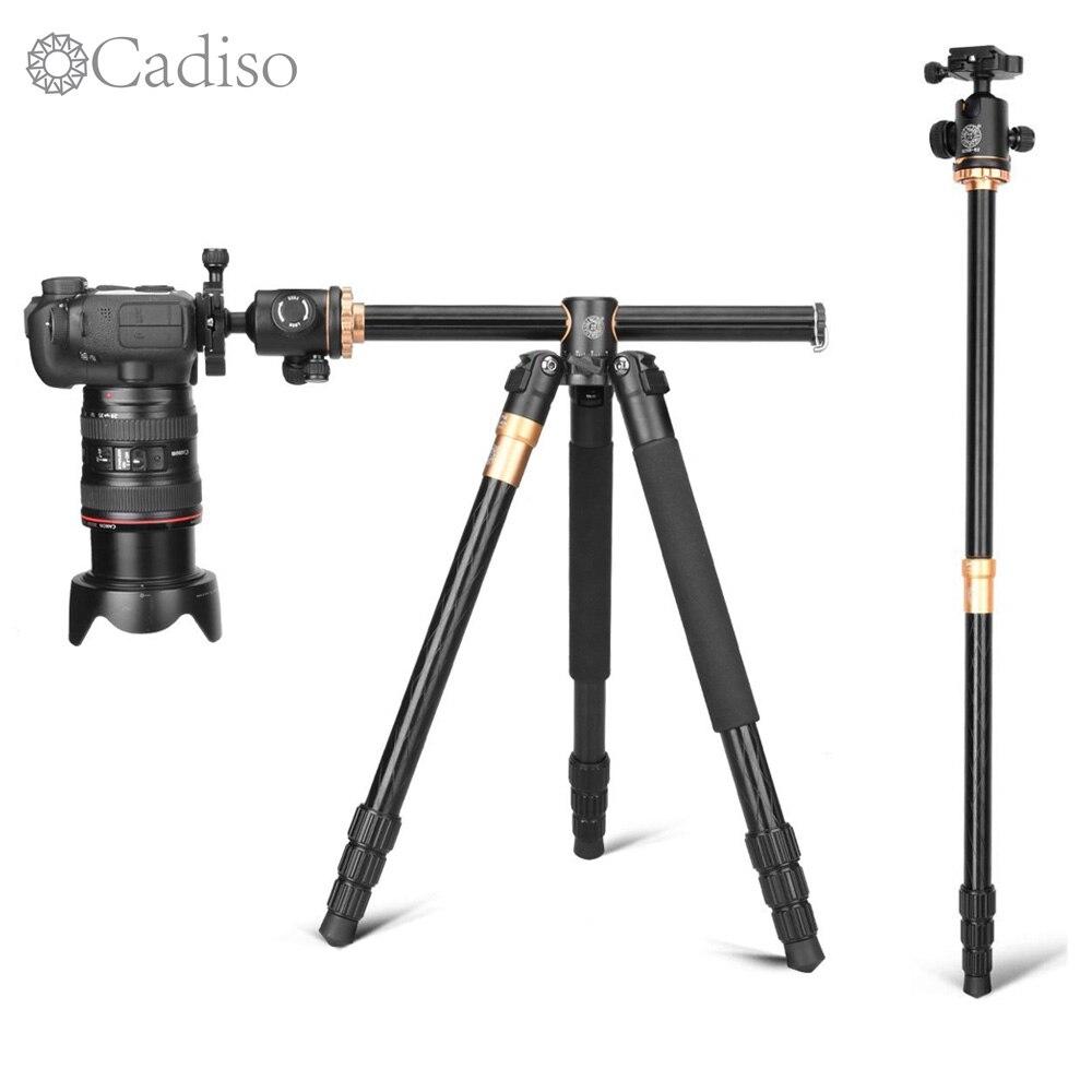 Cadiso Q999H 61 Polegada Vídeo Profissional Tripé de Câmera Portátil De Viagem Compacto Horizontal Tripé com Bola de Cabeça para a Câmera