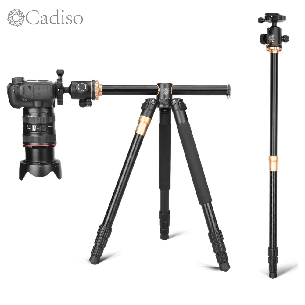 Cadiso Q999H Professional Video Camera Tripod 61 Inch Portable Compact Travel Horizontal Tripod with Ball Head for Camera-in Live Tripods from Consumer Electronics
