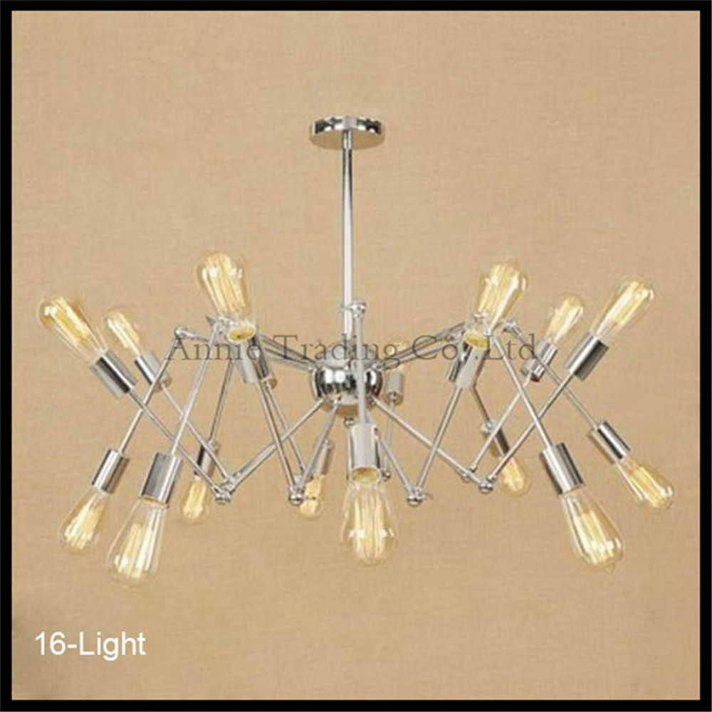 Modern Nordic Retro Edison Chandelier Vintage Loft Pendant Home Lighting Chrome plated Spider lustre lamparas Chandeliers loft antique retro spider chandelier art black diy e27 vintage adjustable edison bulb pendant lamp haning fixture lighting
