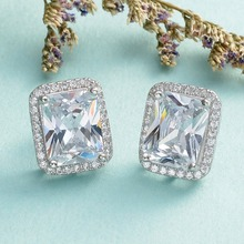 Bella Fashion 925 Sterling Silver Rectangle Bridal Earrings Cubic Zircon Pierced Earrings Wedding Accessories Party Jewelry Gift
