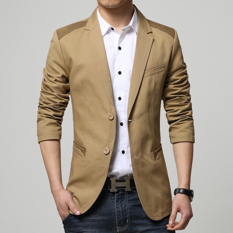 Cáqui Preto Dos Homens Blazer Plus Size M 6XL Tendência