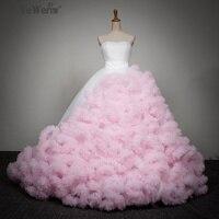 Yewen Strapless Pink with white Flower Party Dresses Photography Bride Wedding Dresses 2018 vestidos de novia robe de mariage