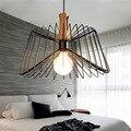 Modern Nordic Industrial Spider Pendant Lamp Wrought LED Suspension Light Wooden Pendant Lights For Restaurant/Bedroom/Bar