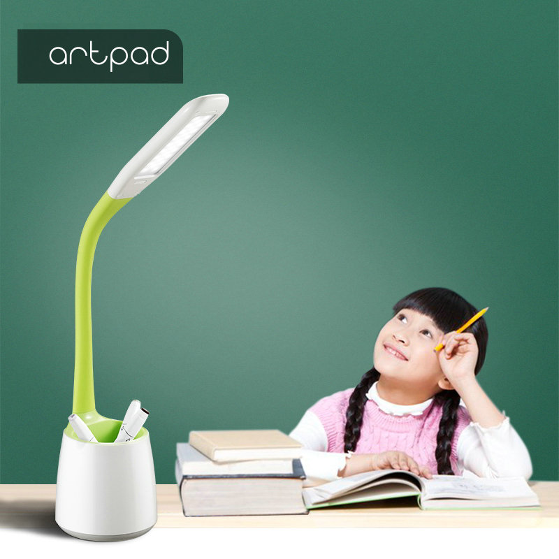 Artpad Minion Eye Care Touch Control 5W Long Arm Modern Desk Lights White 3 Grade Brightness Touch Dimmer With Study Brush Pot