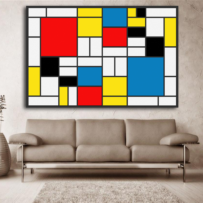 abstract-squares-Composition by Piet Cornelies Mondrian Giclee poster painting on canvas for wall decoration